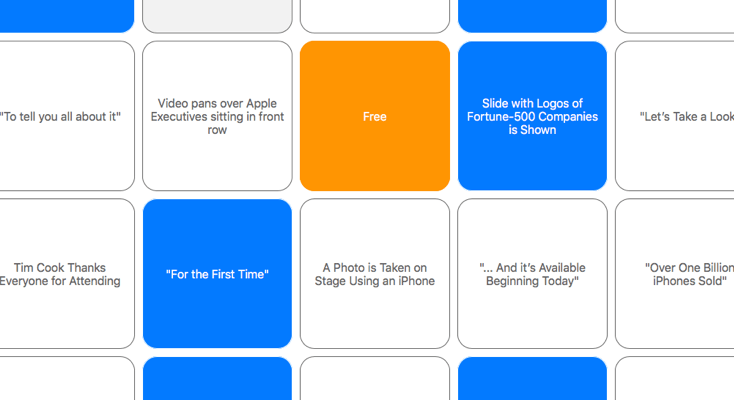 Apple Keynote Bingo